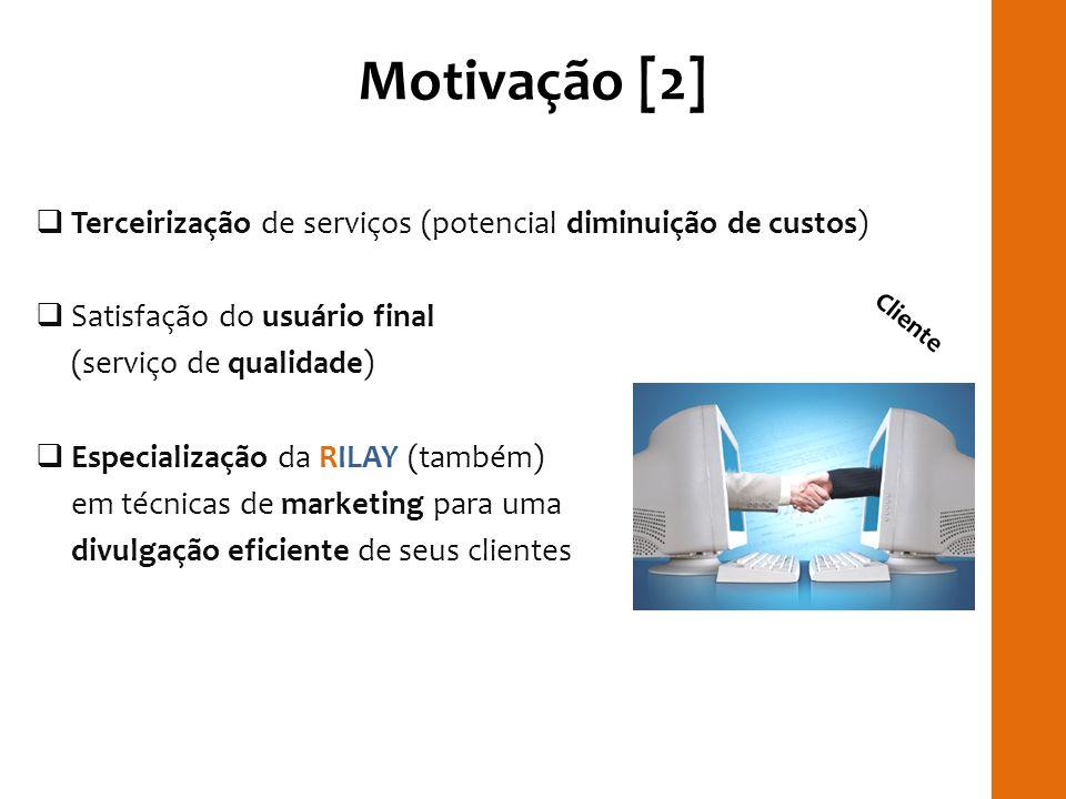 Motivação [2] Terceirização de serviços (potencial diminuição de custos) Satisfação do usuário final.
